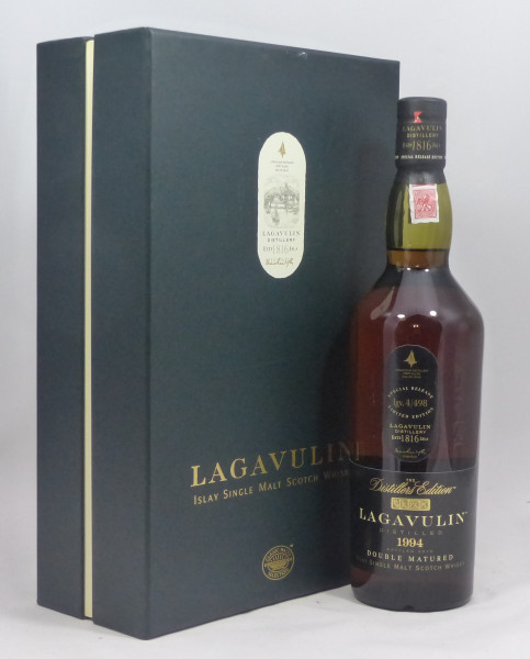 Lagavulin Distillers Edition 1994 b. 2010 in GP mit 2 Orig. Tastinggläsern
